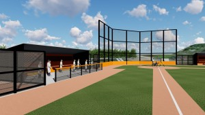 Dugouts and backstop